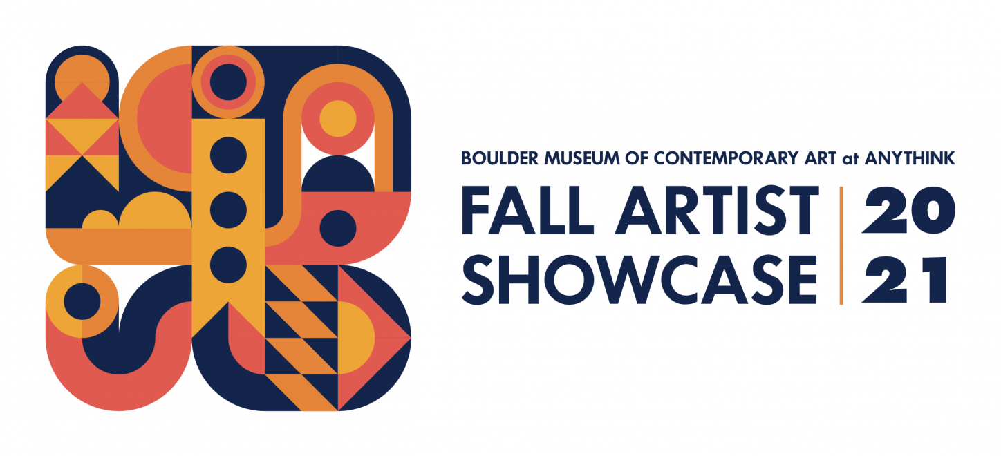 An abstract design with circles and other shapes followed by Boulder Museum of Contemporary Art at Anythink Fall Artist Showcase 2021