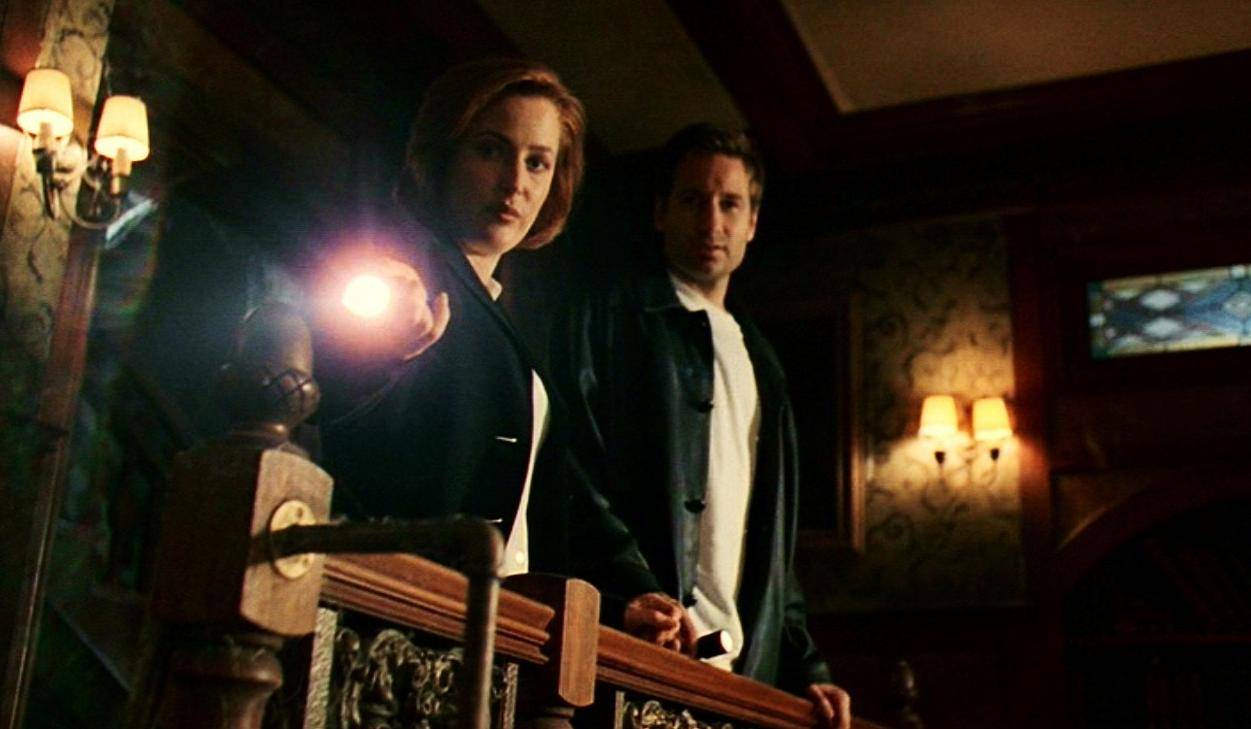 Mulder and Scully survey the scene