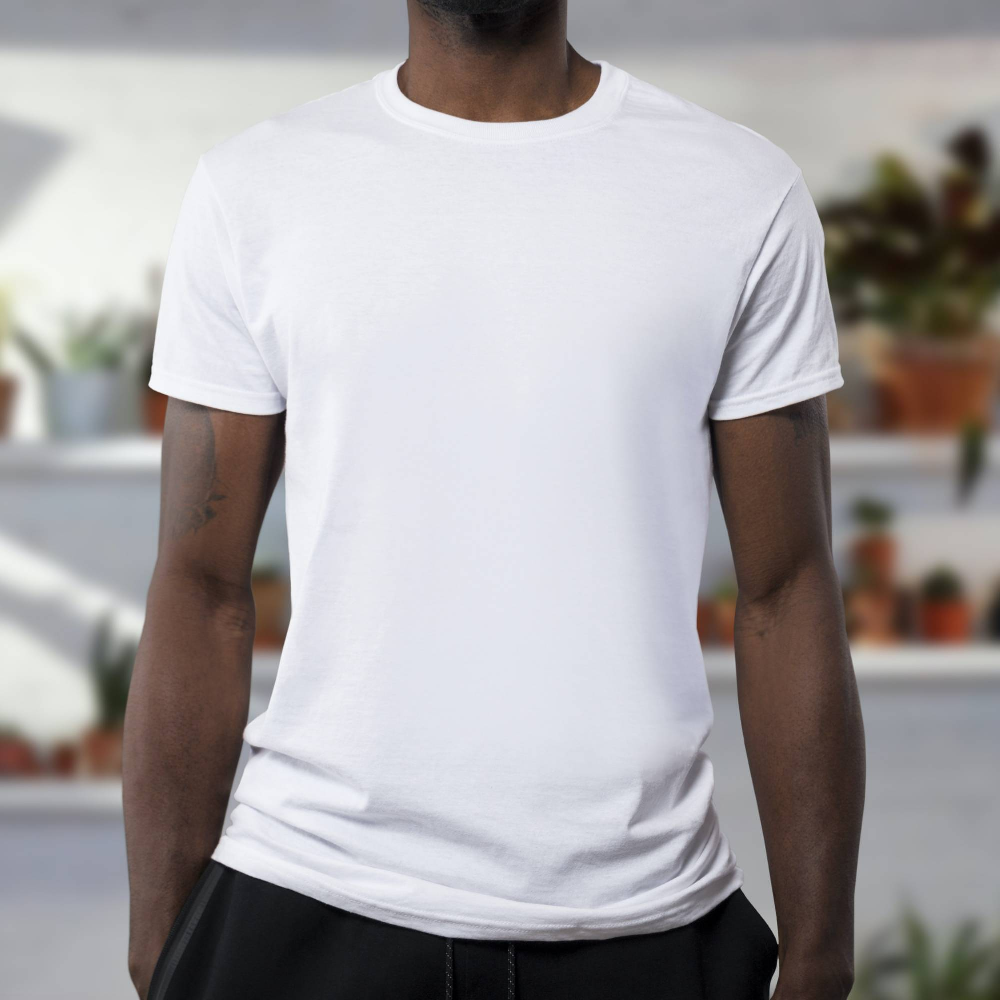 Man with white t-shirt