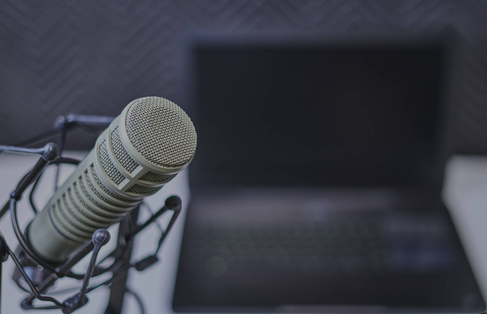 microphone in front of a laptop