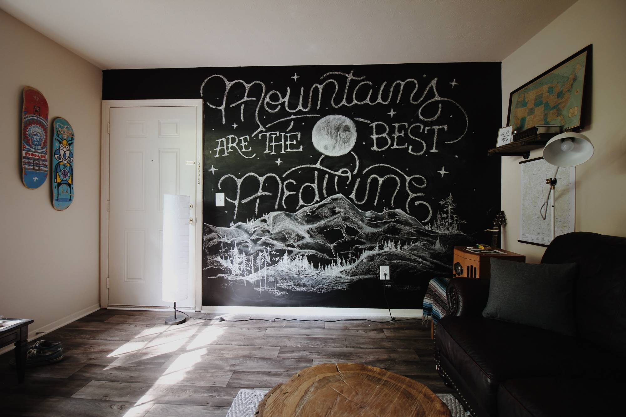 Wall with chalk lettering