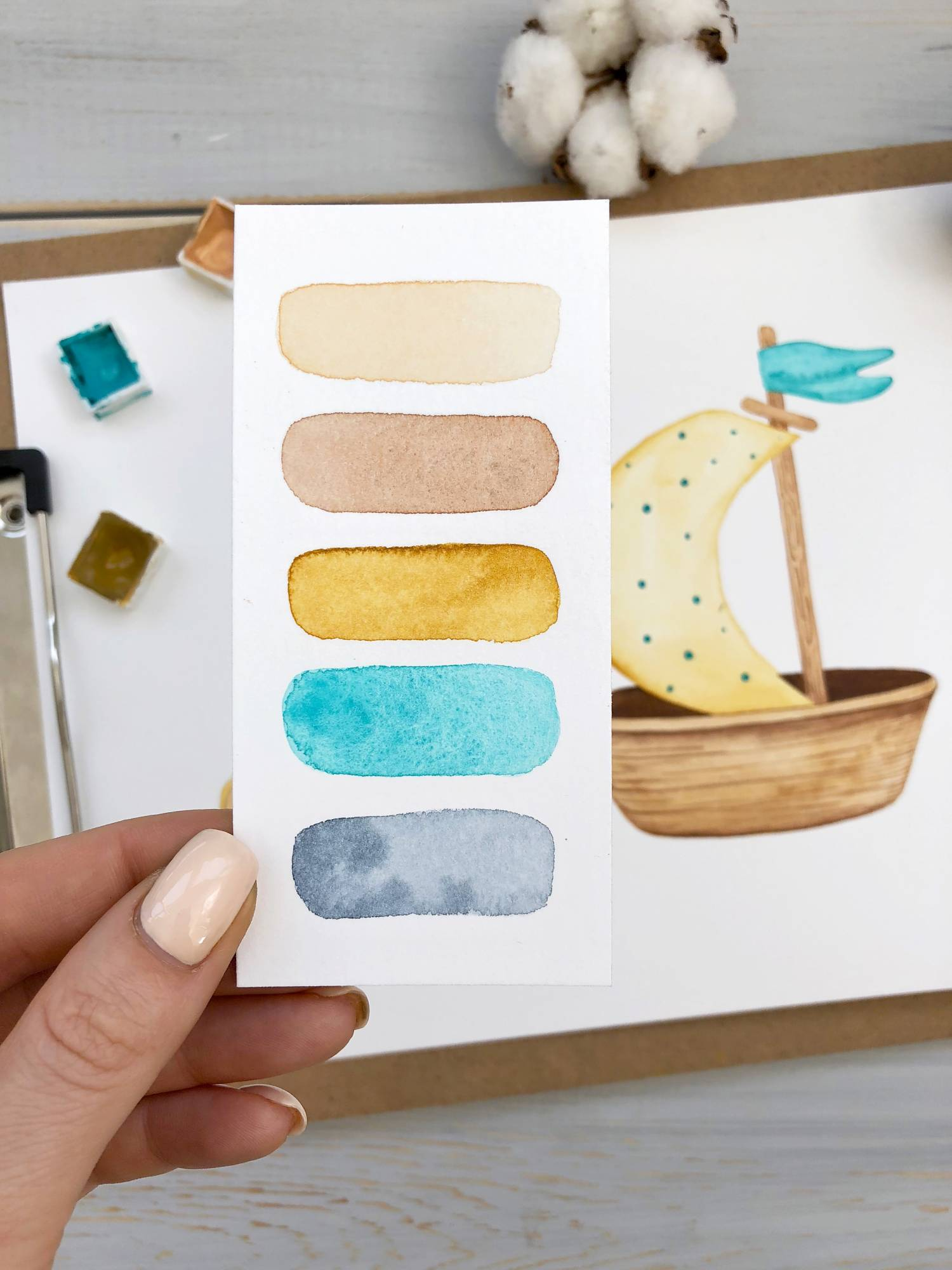 Person holding watercolor card