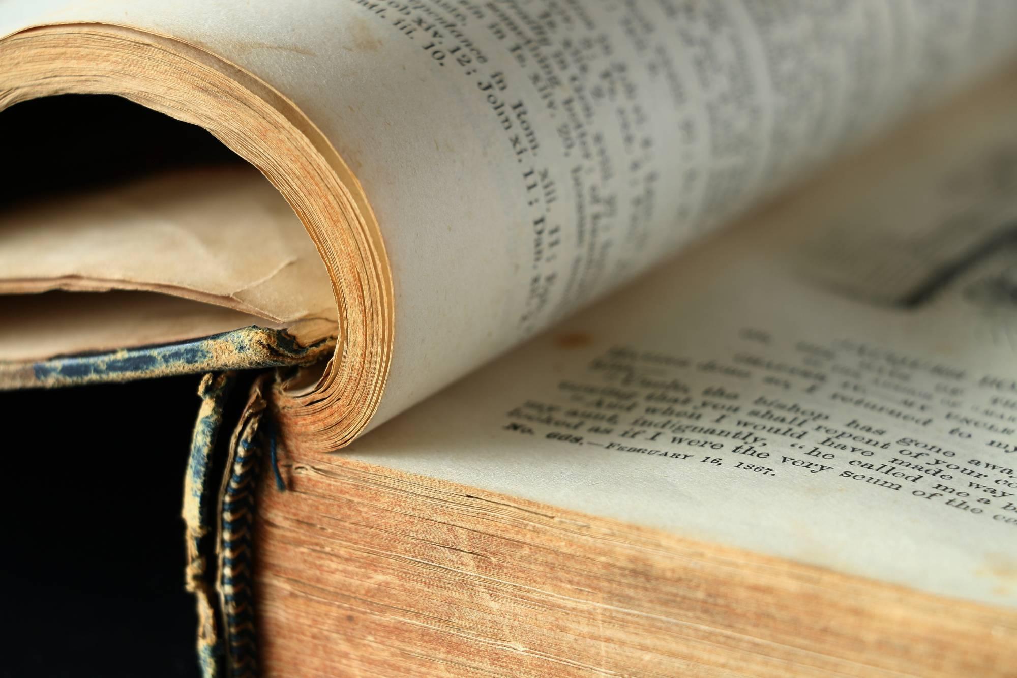 Close up of book binding