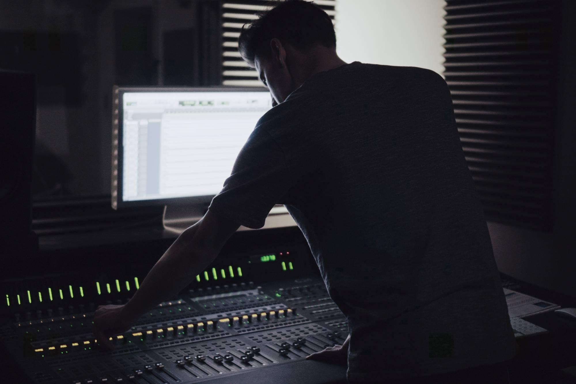 guy recording music