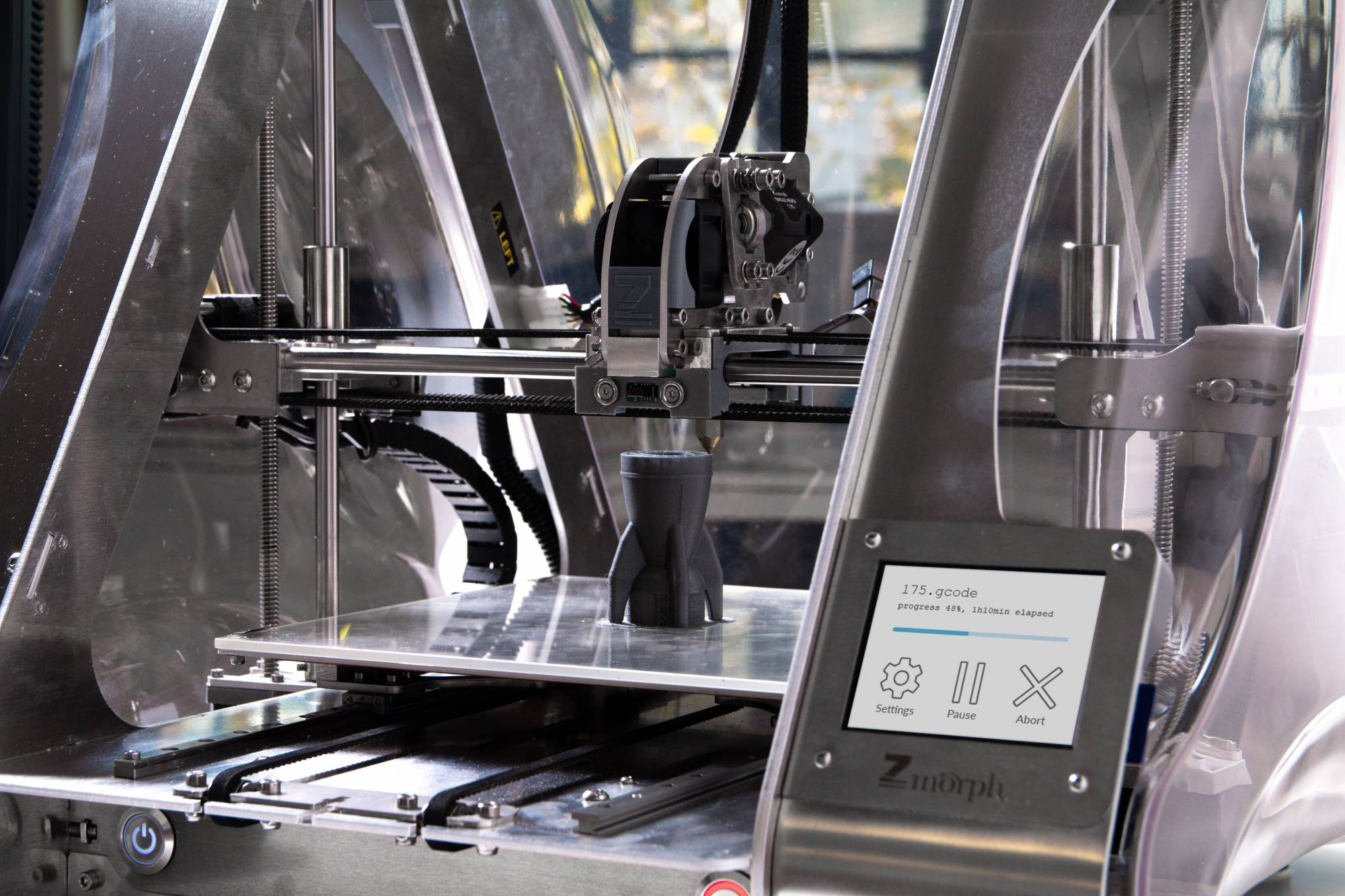Close up of 3D model being printed