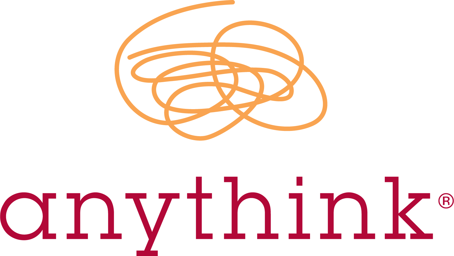 Logo for Anythink - red text and orange doodle on white background.