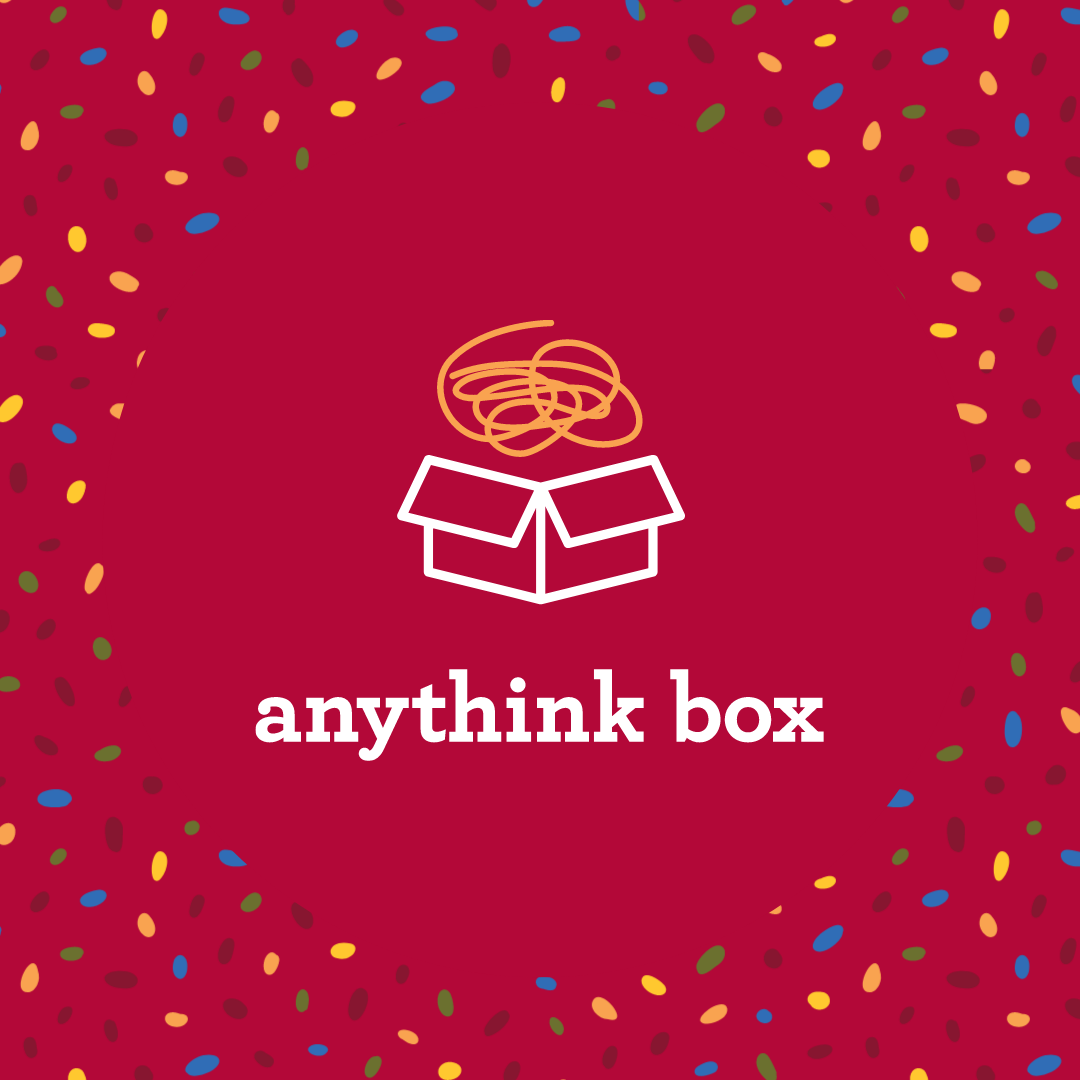 Red graphic with Anythink Box logo at center