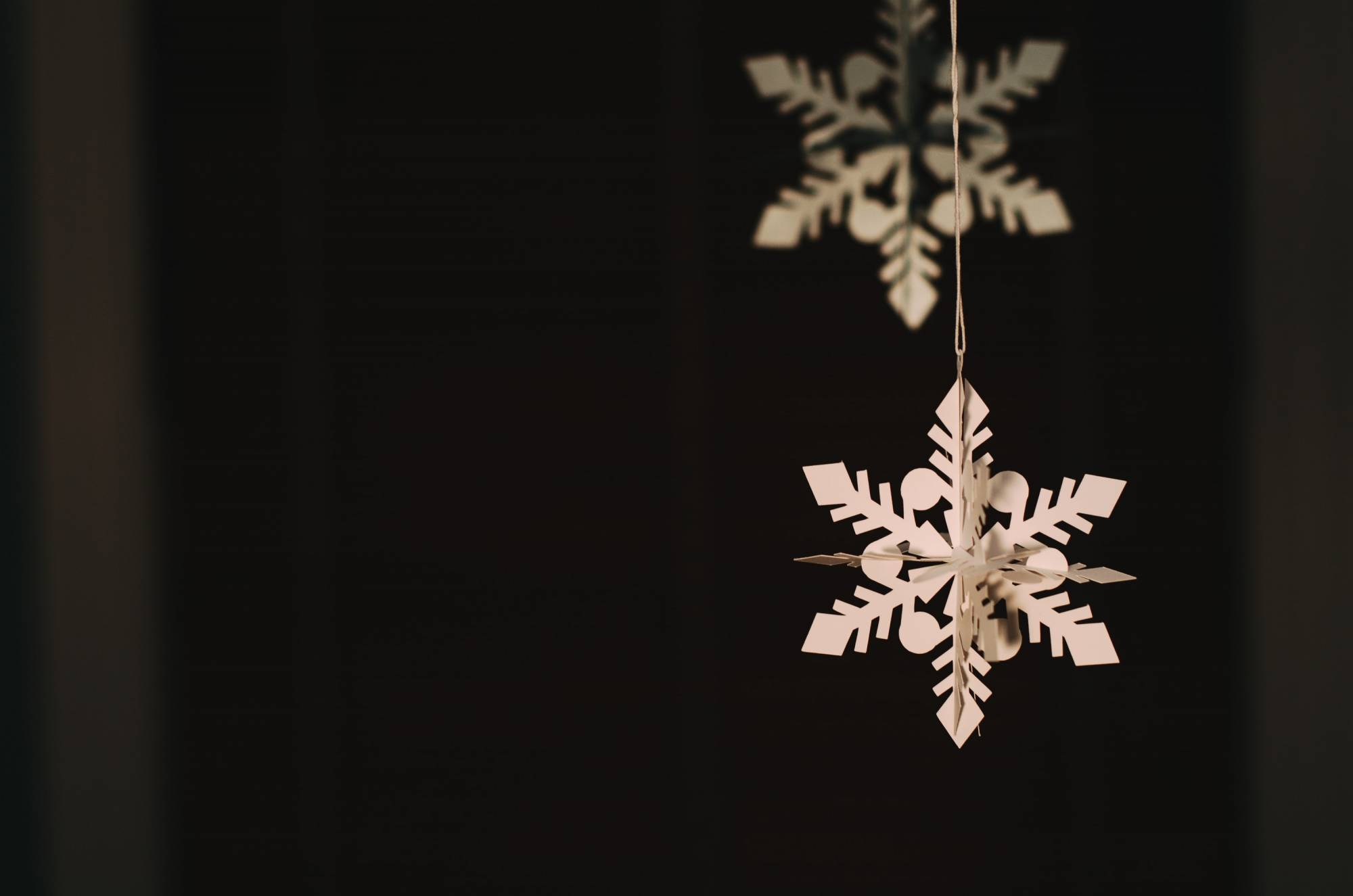 Photo of a paper snowflake