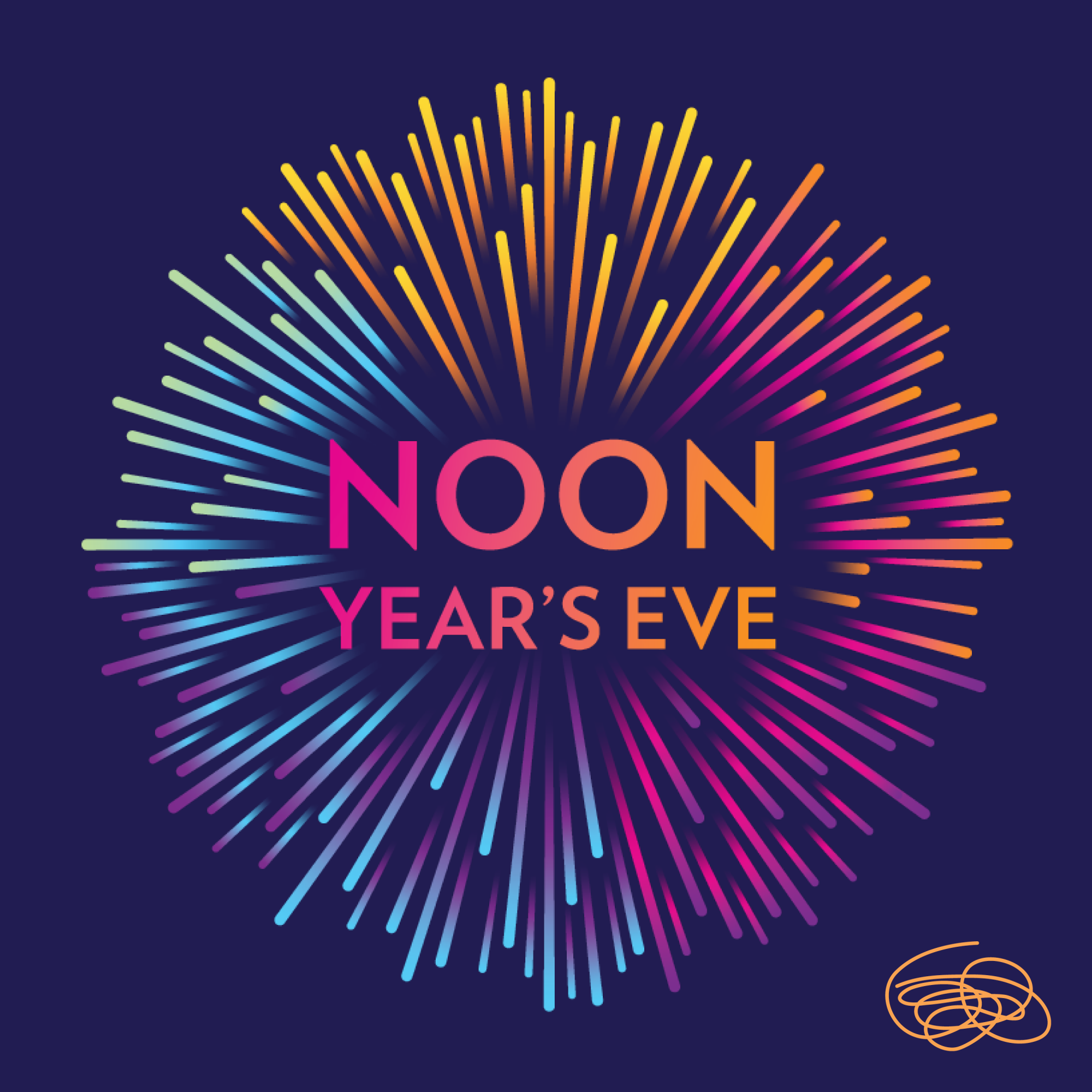 A graphic that reads Noon Year's Eve surrounded by fireworks