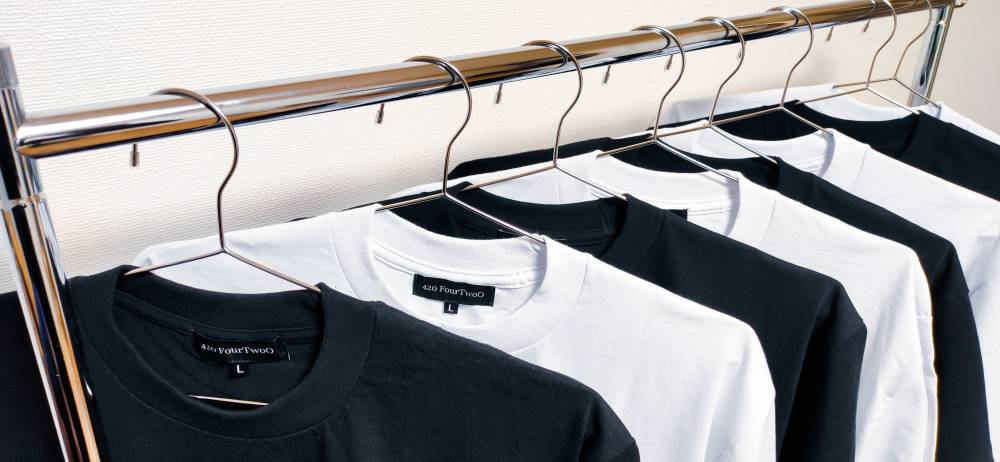 Rack of t-shirts