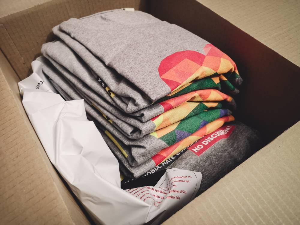 Box of graphic shirts