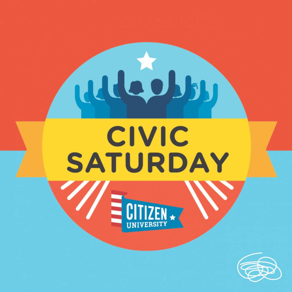 "Graphic that reads ""Civic Saturday"" with people raising hands"