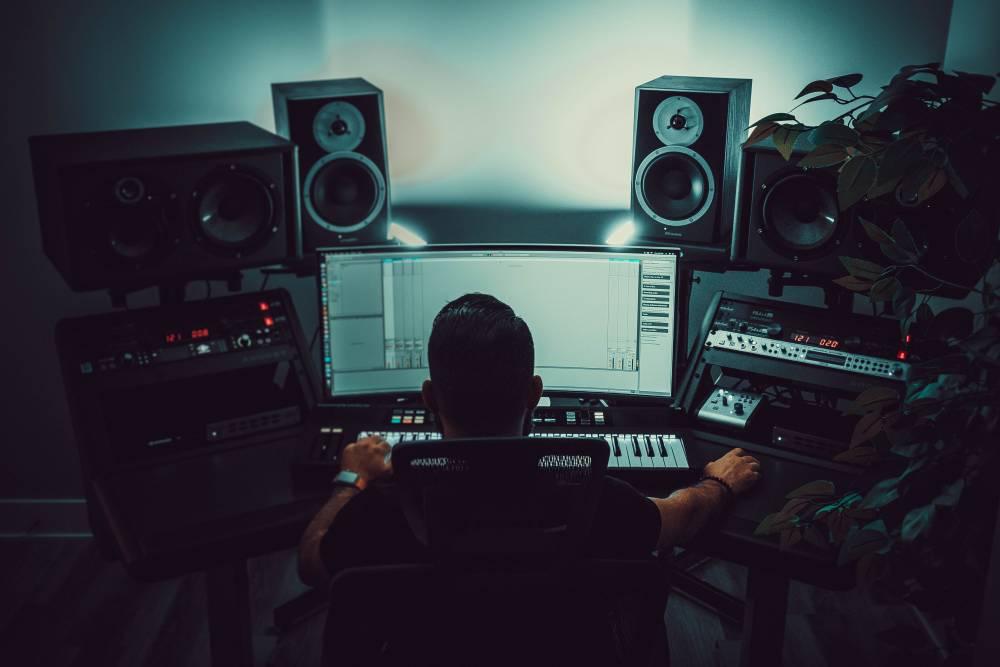 Person in music studio