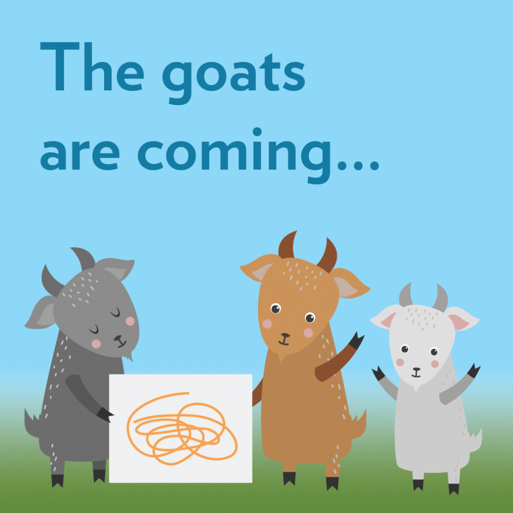 An illustration of goats holding a sign
