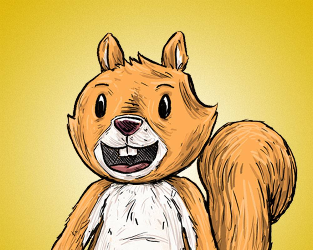 Cartoon of a friendly squirrel