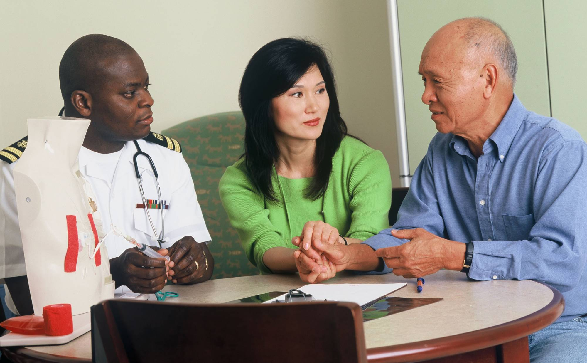 A doctor consults with a family.