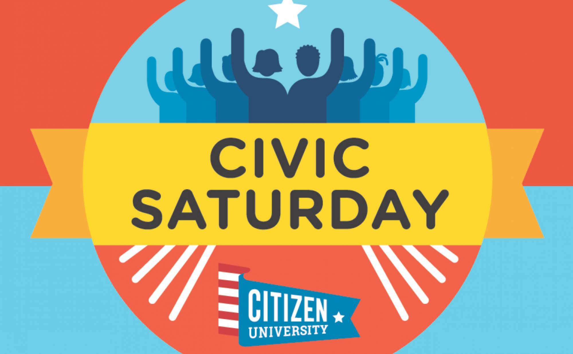 """Graphic that reads """"Civic Saturday"""" with people raising hands"""
