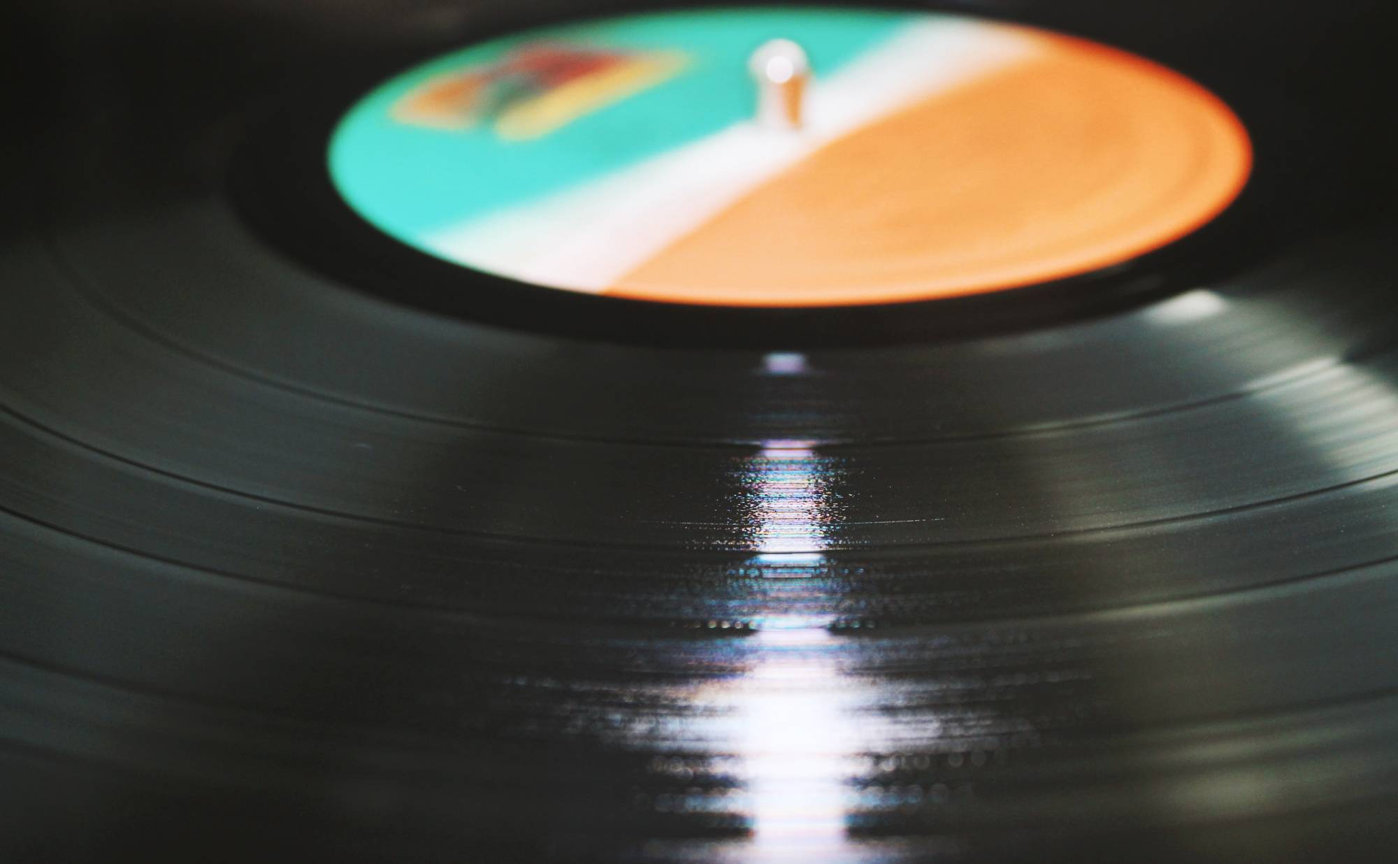 Close up of vinyl record