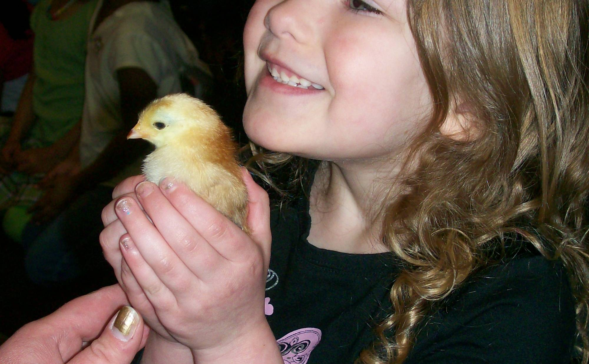 Young Anythinker Paige holds a baby chick