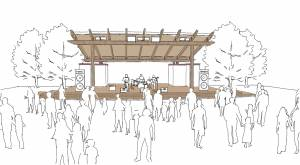 Architectural rendering of outdoor theater at a library