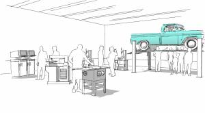 Architectural rendering of a mechanic's garage at a library